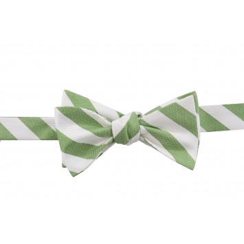 Cotton and Silk Stripe Bow - Green